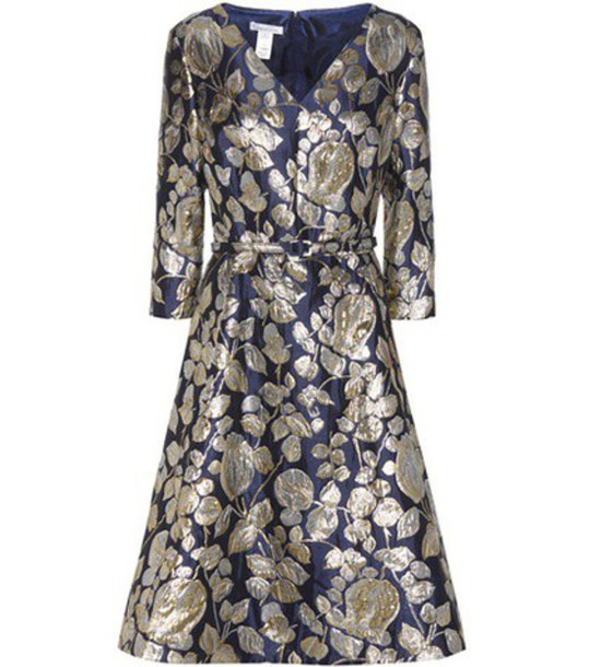 Oscar de la Renta Jacquard Printed Dress in blue