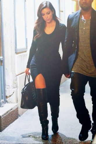 dress black dress long dress kim kardashian shoes