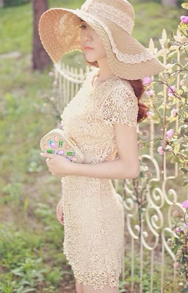 pink hat dress tan pink dress