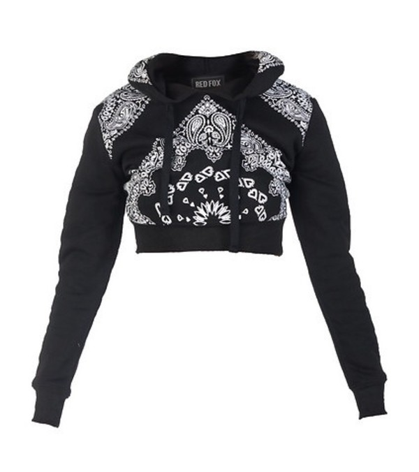 Fashion Womens Custom Bandana Printed Fleece Cropped Pullover ...