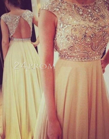 Custom made champagne chiffon round neckline backless long prom dresses, evening dress