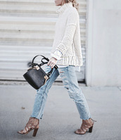 happily grey,blogger,winter sweater,turtleneck,knitted sweater,ripped jeans,high heels,handbag