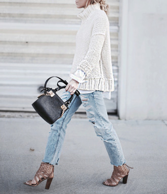 happily grey blogger winter sweater turtleneck knitted sweater ripped jeans high heels handbag