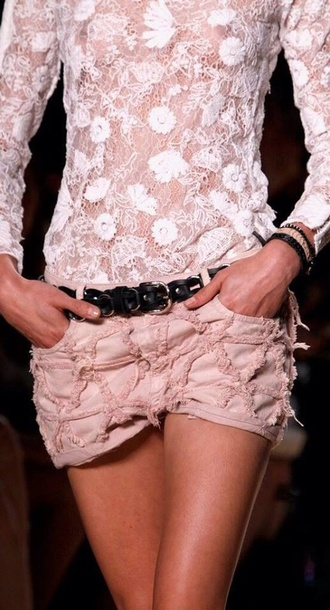 shorts cut off shorts cute shorts lace shorts blouse pink blouse top crop-tops t-shirt transparent transparent top semi transparent skirt mini skirt isabel marant summer spring 2014 summer 2014 texture