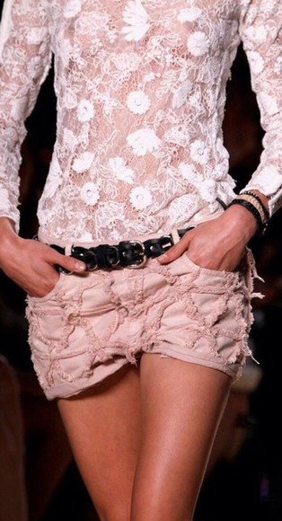 isabel marant summer shorts cut off shorts cute shorts lace shorts blouse pink blouse top crop-tops tshirt transparent transparent top semi transparent skirt mini skirt spring 2014 summer 2014