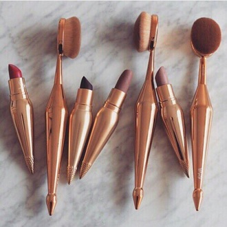 make-up gold makeup brushes lipstick red lipstick purple lipstick