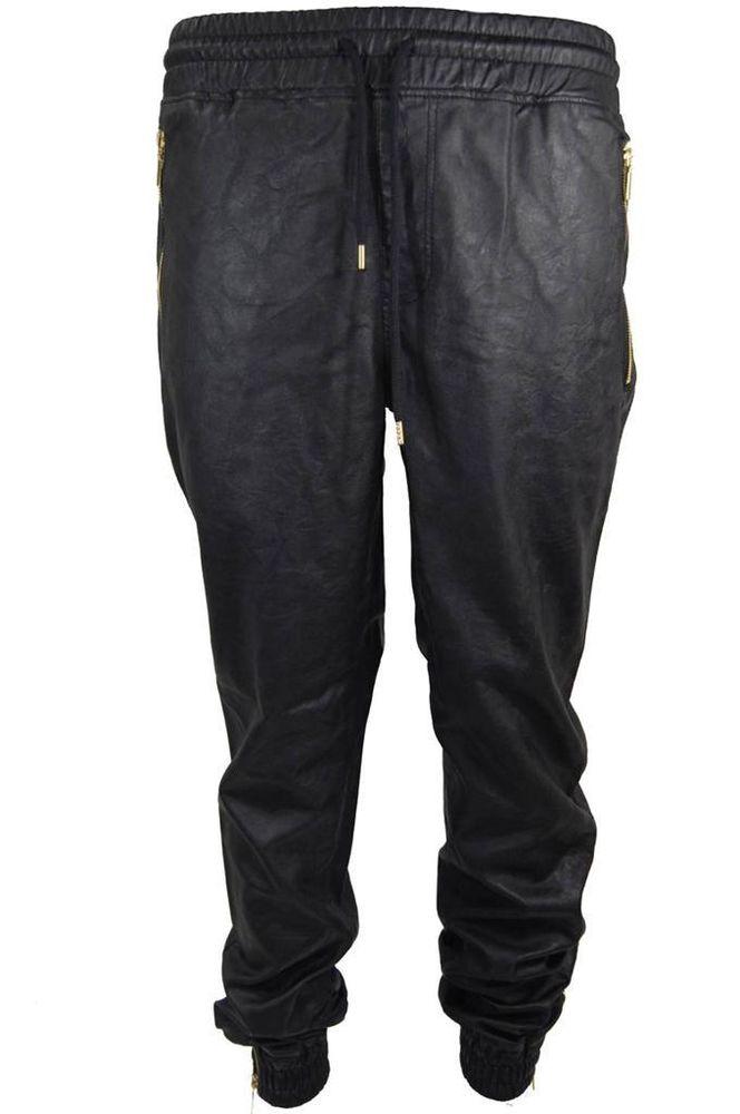 Mens Smoke Rise PU Faux Leather Pants Joggers Zipper Pockets Ankle Black M-2XL