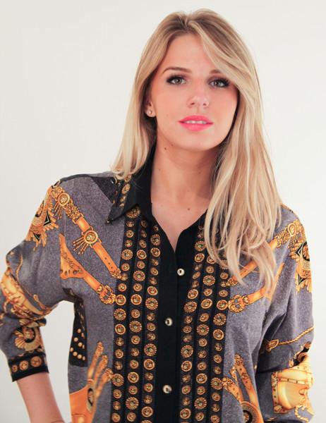 Versacesque gold medusa baroque printed blouse – glamzelle