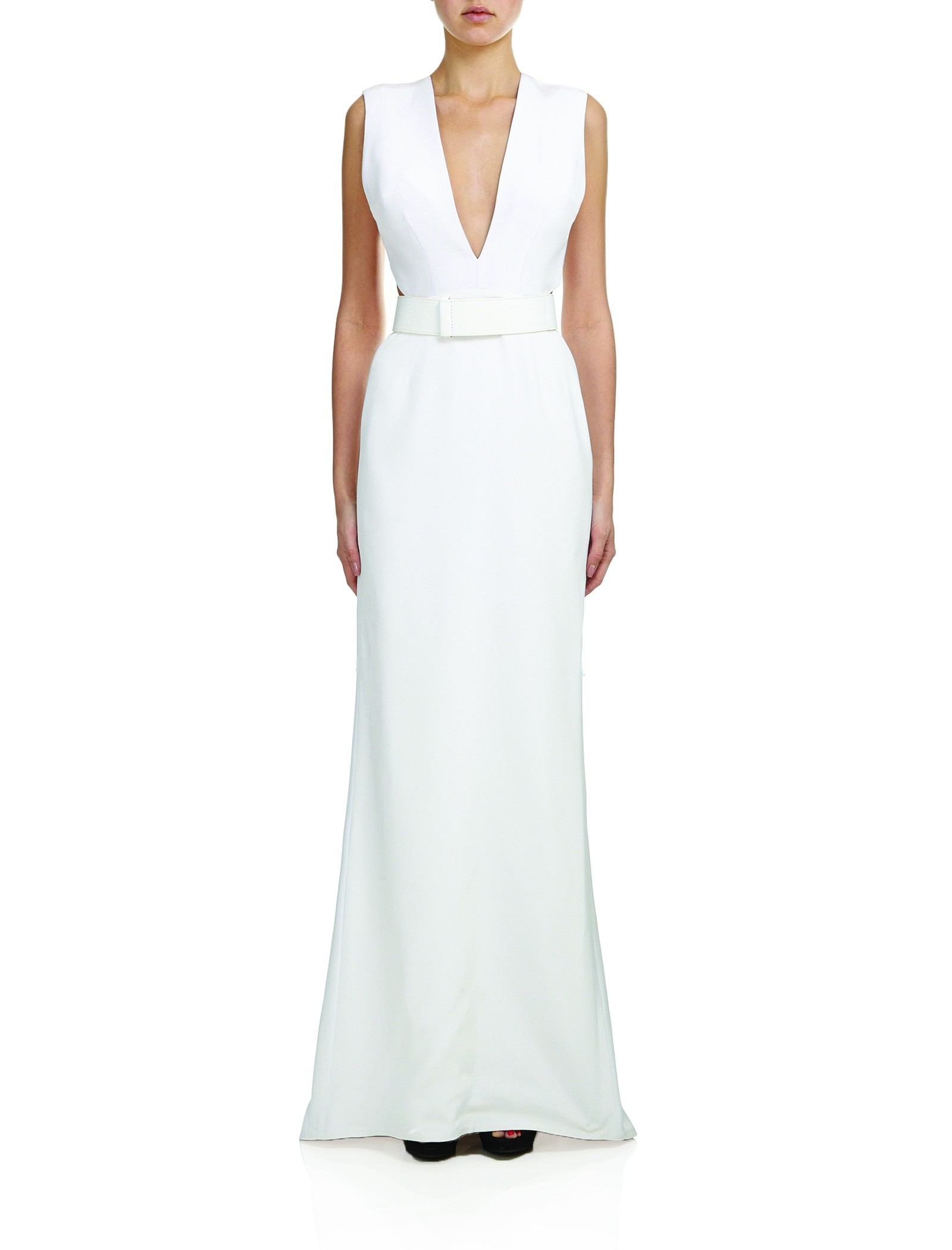 PLY SILK CREPE DRESS in Optic byKaufmanFranco at OWEN NYC