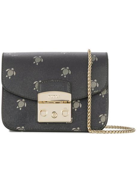 Furla women turtle bag shoulder bag leather print black