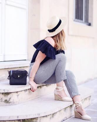 hat french girl bag sun hat pants gingham top off the shoulder off the shoulder top black top black bag
