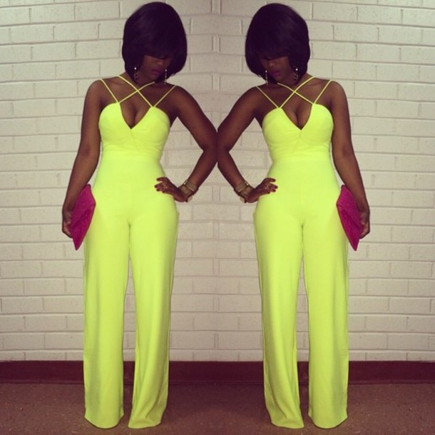 44b66b4102c Neon Yellow Jumpsuit - Shop for Neon Yellow Jumpsuit on Wheretoget
