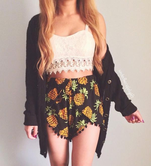 shorts ananas short shirt sweater orange black pineapple print pineapple cool girl style cool pretty funny iwanttheseshorts