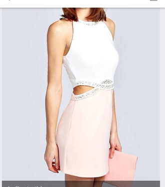 dress white dress bodycon dress short dress halter neck embroidered dress