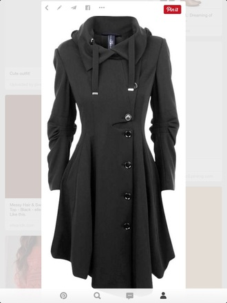 coat black coat cute