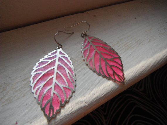 Funky hot pink feather design earrings by thebestandbeyond on etsy