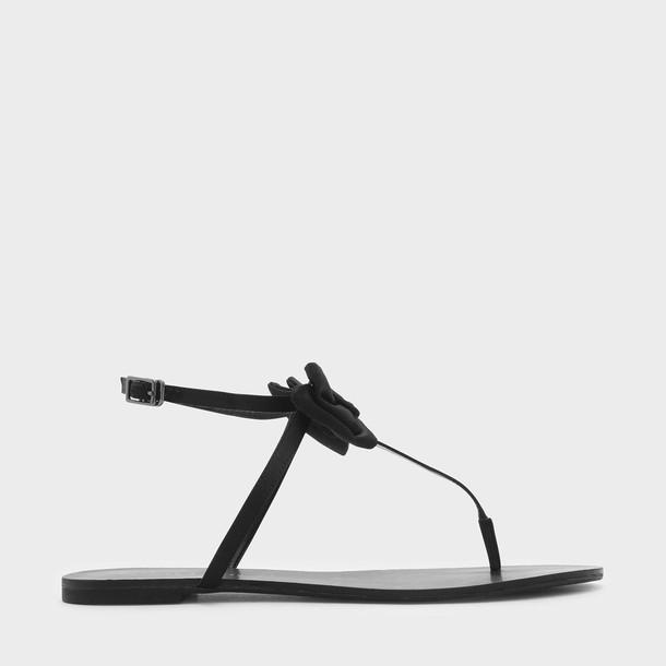 bow sandals black shoes