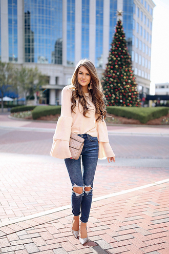 southern curls and pearls blogger sweater jeans bag shoes jewels make-up fall outfits bell sleeve sweater pumps ripped jeans