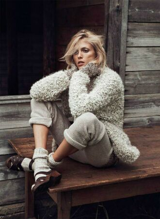 fall outfits fashion inspo warm wool clogs hipster jb blonde hair anja rubik by lachlan bailey for paris vogue leggings thick sweater sweater weather sweater weather grey cozy