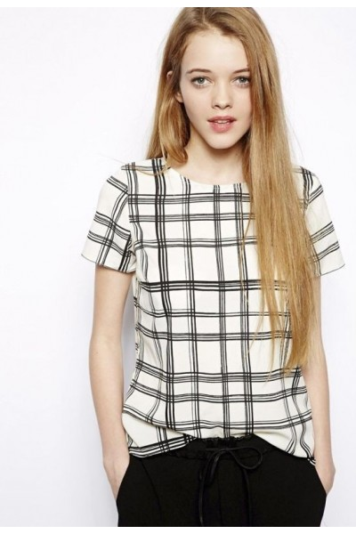 KCLOTH Check Printed Top Blouse T1796