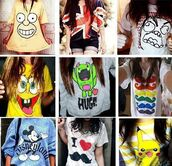 t-shirt,clothes,shirt,for summer,lovely,all of them,the simpsons,british flag top,graphic tee,graphic sweater,sweater,teenagers,blouse,free hugs,cute,spongebob,moustache,mickey mouse,england,homer simpson,huge