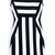 Black White Striped Round Neck Sleeveless Dress - Sheinside.com