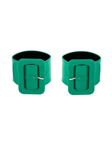 cuff women leather green jewels