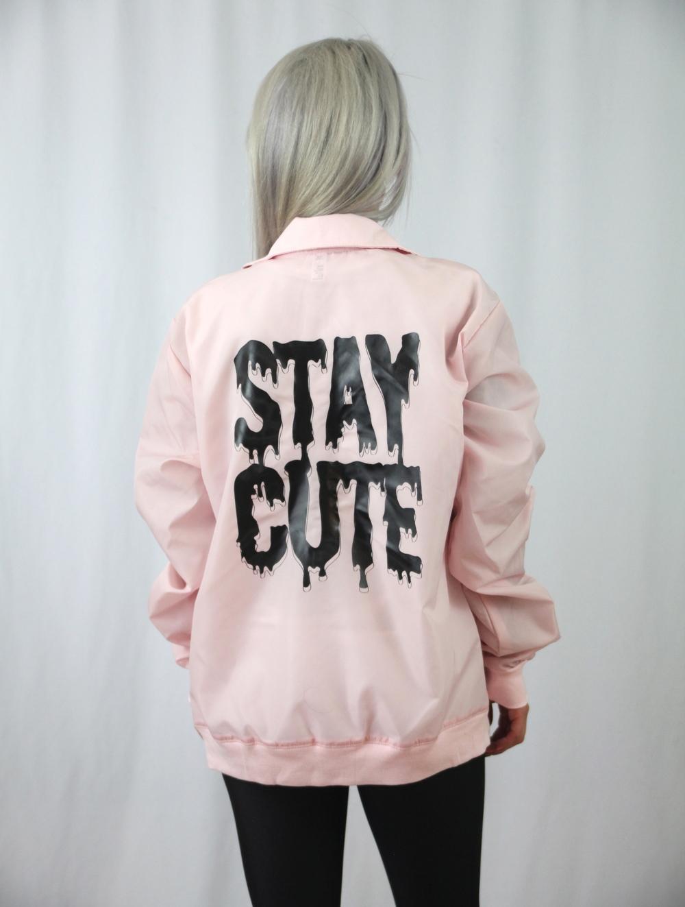 Unisex Pink Windbreaker Jacket Stay Cute Com