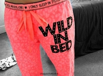 pants pj pants pink victoria's secret pink by victorias secret pajamas wild in bed neon orange sleep