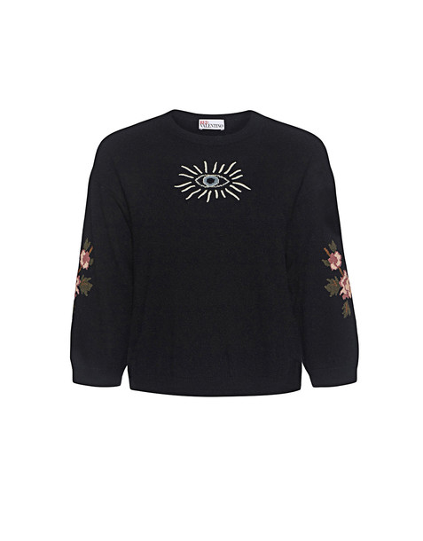 RED VALENTINO sweater cropped sweater embroidered cropped floral black