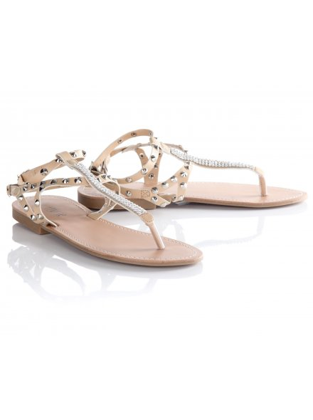 Women's Light Stone Diamante Spike Stud Sandals
