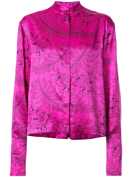 shirt women oriental print print silk purple pink top