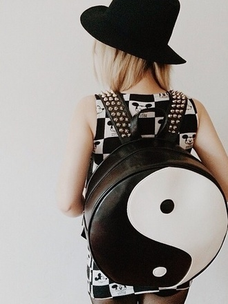 bag ying yang kawaii white black backpack cute grunge kawaii bag