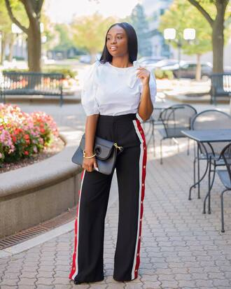 pants tumblr black pants wide-leg pants side stripe pants blouse white blouse bag black bag