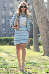the blonde salad,blue jacket,blue skirt,skirt,jacket,jewels