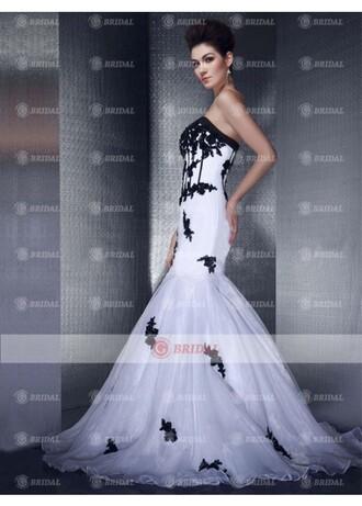 dress black and white dress mermaid