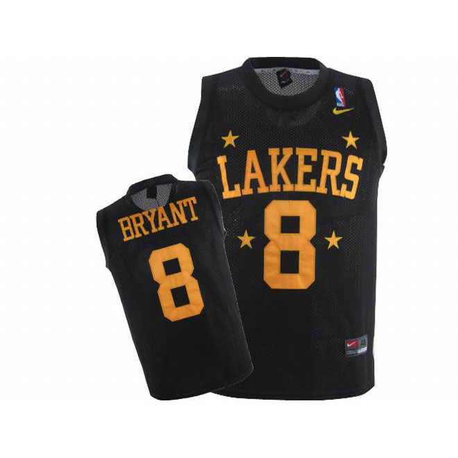 Kobe Bryant #8 Nike Black NBA Lakers Swingman Jersey Gold Number