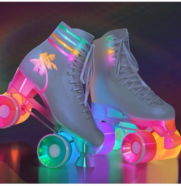 Roller Skate Sneakers >> Shoes: lights, skater girl, roller skates, rollerblade, colorful, neon - Wheretoget