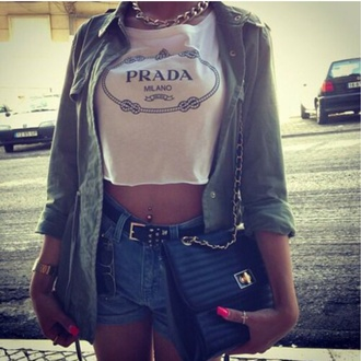 top prada blouse t-shirt jewels
