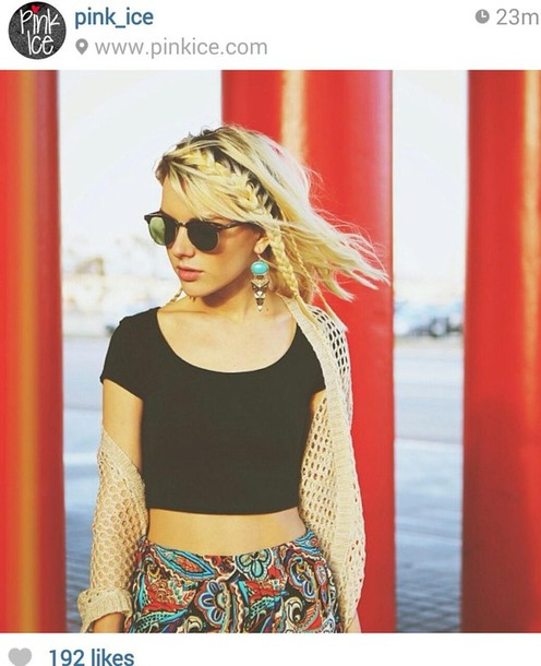 pants boho bohemian photography cardigan crop tops earrings sunglasses wayfarer sweater jewels t-shirt