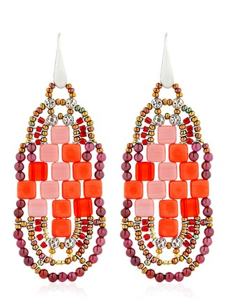 beaded earrings red jewels