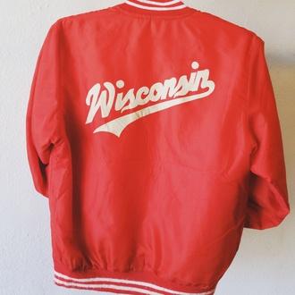 jacket wisconsin retro vintage sportswear