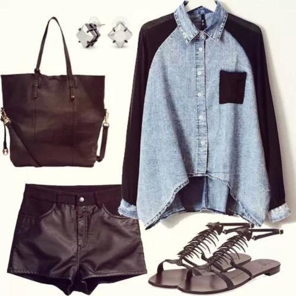 shorts short black leather shoes shirt