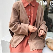 cardigan,girly,tumblr,knitwear,knit,knitted cardigan,button up,brown