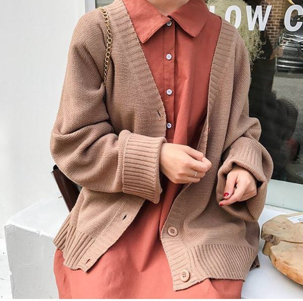 cardigan girly tumblr knitwear knit knitted cardigan button up brown
