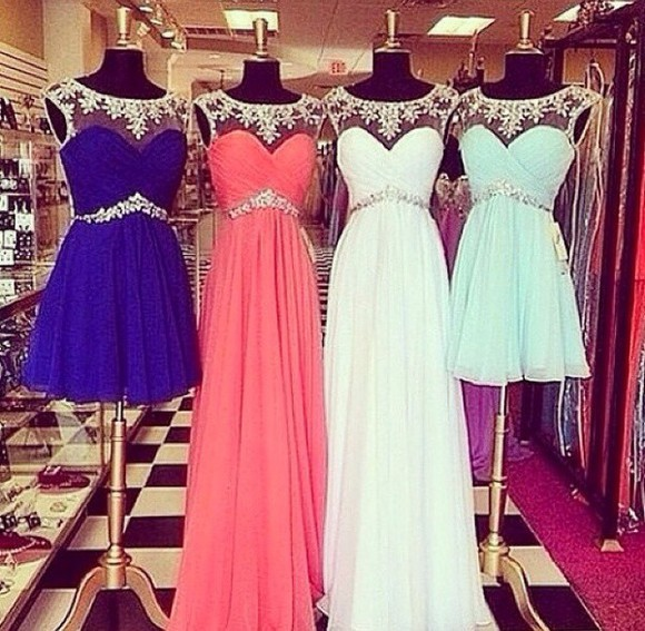 chiffon jeweled rhinestone bead sweetheart neckline prom dress