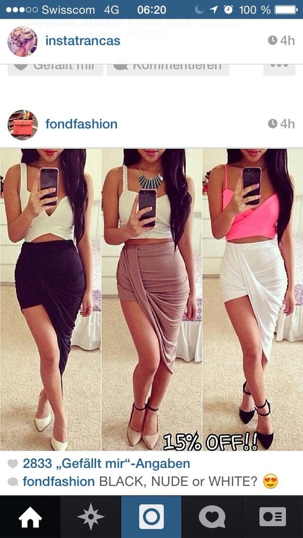 skirt long skirt side split skirt black crop top