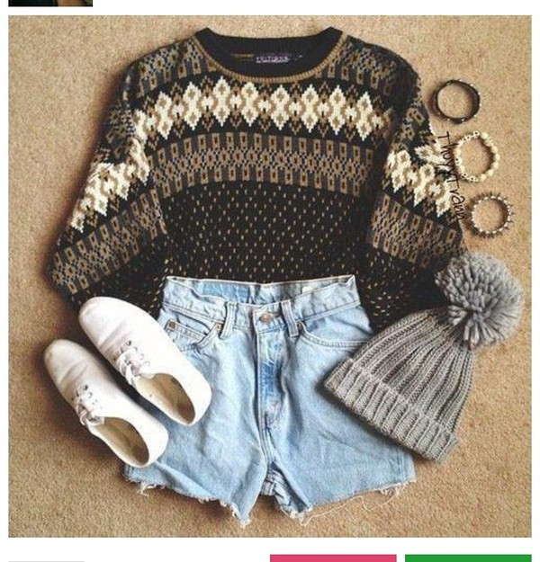 sweater shorts shoes jewels hat indie oversized