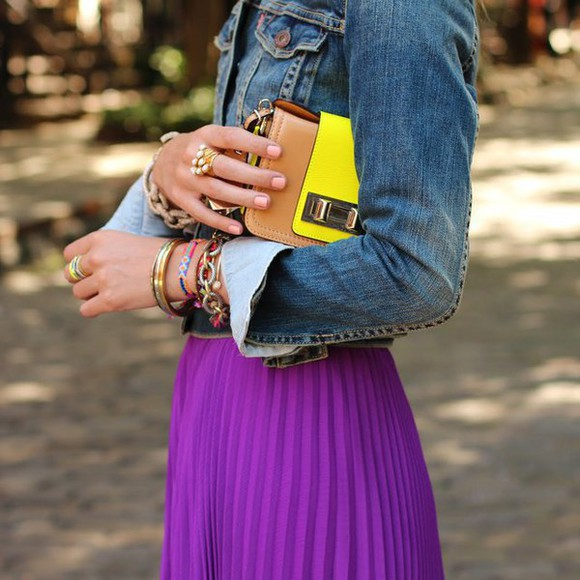 flashy purple skirt denim jacket bracelets ring yellow brown bag colorblock
