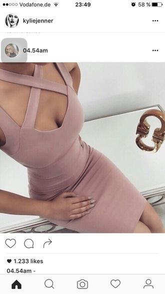 dress bodycon dress pink dress criss cross
